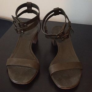 J Crew Olive Leather Strappy Sandals Sz 7